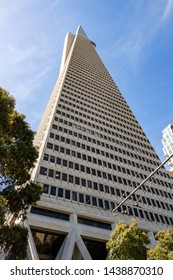 San Francisco, California, USA - May 27, 2018, Transamerica pyramid in the financial district, bottom view, Concept, tourism, travel.