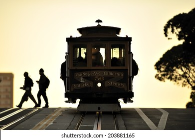 SAN FRANCISCO, California, USA, - NOVEMBER. 8. 2011: The silhouette of cable car tram in San Francisco, world's last manually-operated cable car system, icon of San Francisco