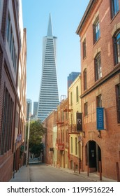 San Francisco, California, USA- October 7, 2018: San Francisco Cityscape and Transamerica Pyramid , California, USA