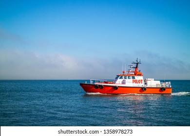 San Francisco, California, USA - October 28, 2017: A coastguard patrolling the area around Alcatraz Island