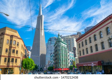 San Francisco, California -USA - October, 11, 2014 - View of the famous Transamerica Pyramid Building