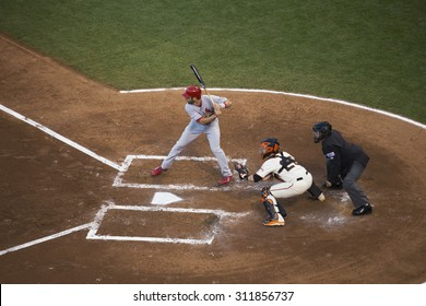 San Francisco, California, USA, October 16, 2014, AT&T Park, baseball stadium, SF Giants versus St. Louis Cardinals, National League Championship Series (NLCS), Matt Adams bats