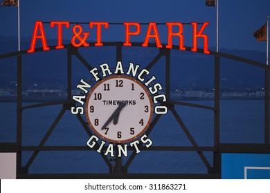 San Francisco, California, USA, October 16, 2014, AT&T Park, baseball stadium, SF Giants versus St. Louis Cardinals, National League Championship Series (NLCS), AT&T Park neon and clock