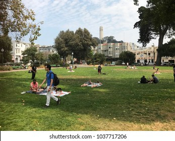 San Francisco, California / USA - September 3, 2017: People lounging on grass in Washington Square Park in the North Beach neighborhood of San Francisco, California. Famous Coit Tower in background.