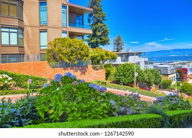 San Francisco, California, USA - September 10, 2018: Lombard Street is an east–west street in San Francisco, that is famous for a steep.
