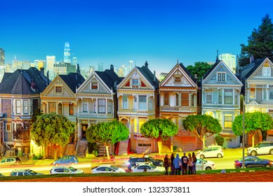 San Francisco, California, USA - September 09, 2018: Panoramic view of the San Francisco Painted ladies (Victorian Houses).