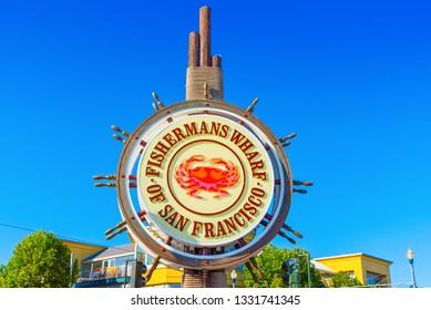 San Francisco, California, USA - September 10, 2018: Fisherman's Wharf. Fisherman's Wharf sign.