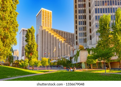 San Francisco, California, USA - September 08, 2018: View of downtown from the Embarcadero street,  San Francisco.