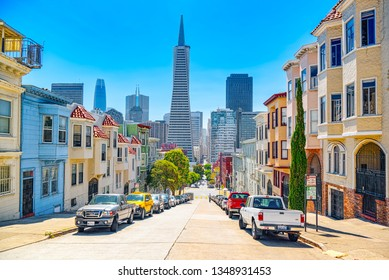San Francisco, California, USA - September 09, 2018: City views a seaport in western California,on a peninsula between the Pacific Ocean and San Francisco Bay.