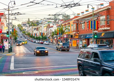San Francisco, California, USA - September 09, 2018: Area of the city of Castro, where a large cluster of gay lesbian LGBT culture.
