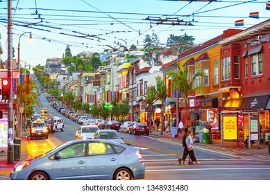 San Francisco, California, USA - September 08, 2018: Area of the city of Castro, where a large cluster of gay lesbian LGBT culture.