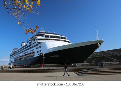 San Francisco, California / USA - September 11 2018: A huge liner Volendam from Holland is parked near the pier.