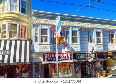San Francisco, California, USA - September 10, 2018: City views a seaport in western California,on a peninsula between the Pacific Ocean and San Francisco Bay.
