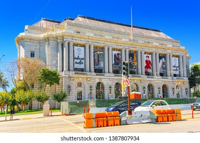 San Francisco, California, USA - September 11, 2018: War Memorial Opera House in  downtown of San Francisco-seaport in western California.