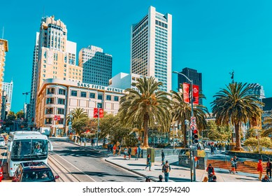 San Francisco, California, USA - September 10, 2018: View of the city center, Union Square - downtown of San Francisco.