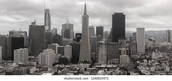 San Francisco, California/United States - 06/08/2017: A panoramic view of the Financial District of San Francisco from the top of the Coit Tower