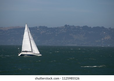 san francisco, california/usa 6 25 2018; sailboat in the bay