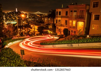 SAN FRANCISCO, CALIFORNIA/USA - JANUARY 31, 2019: San Francisco cityscapes are famous for many attractions. Lombard street at night