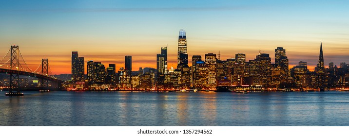 SAN FRANCISCO, CALIFORNIA/USA - JANUARY 31, 2019: San Francisco cityscapes are famous for many attractions. San Francisco skyline at night