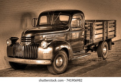 SAN FRANCISCO, CALIFORNIA/USA - MAY 24, 2017: 1940 Chevrolet pickup truck in Alcatraz Prison. The federal prison on Alcatraz Island in San Francisco Bay housed some of America's most infamous felons.