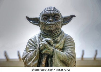 SAN FRANCISCO, CALIFORNIA/USA - MAY 25, 2017: The iconic Yoda (Star Wars fame) fountain at the Lucasfilm campus in the Letterman Digital Arts Center in the Presidio section.