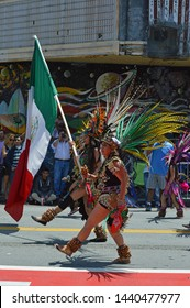 San Francisco, California/USA - May 29, 2016: Cultural diversity parade with Mexican flag.