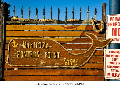 San Francisco, California/USA-10/1/19: A sign for the Mariposa Hunters Point yacht club on the waterfront near China Basin neighborhood  on Mission bay