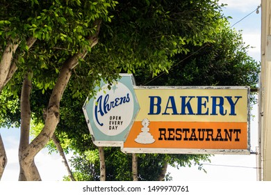 San Francisco, California/USA-11/14/17: Ahrens Bakery Restaurant sign on Van Ness and Jackson Street, Nob Hill, a bakery and restaurant that served generations going back to the 1940s until 2000.
