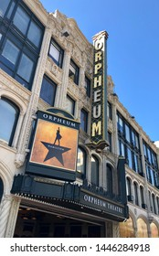 San Francisco, CALIFRONIA/USA – JUNE 22, 2019: Orpheum Theater with Hamilton play signage. Hamilton is the hit musical about the life of Alexander Hamilton.