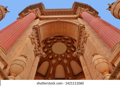 San Francisco, Calif./USA 8/3/17: Vertical exterior shot of one of the arched openings flanked by Corinthian columns leading into the rotunda.  Coffered ceiling in the rotunda is visible.