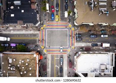 San Francisco Castro District Rainbow Crosswalk Intersection