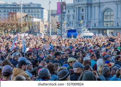 SAN FRANCISCO, CA/UNITED STATES â?? JANUARY 15 2017: A large crowd assembles  at city hall in downtown San Francisco.for a Healthcare Rally.