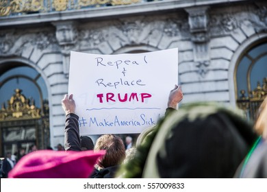 SAN FRANCISCO, CA/UNITED STATES â?? JANUARY 15 2017: A person holds a sign at city hall in downtown San Francisco.during a Healthcare Rally.