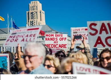 SAN FRANCISCO, CA/UNITED STATES â?? JANUARY 15 2017: Signs at Healthcare rally in downtown San Francisco.