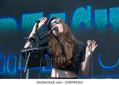 San Francisco, CA/USA: 10/18/14: Brodie Jenkins performs with Cathedrals at Treasure Island Music Festival.