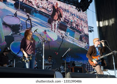 San Francisco, CA/USA: 10/18/14: Neko Case and Allan Carl Newman perform as The New Pornographers at Treasure Island Music Festival. The Canadian indie rock band formed in 1997 in Vancouver, BC.