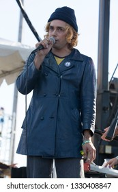 San Francisco, CA/USA: 10/19/14: Brooks Nielsen performs with The Growlers at Treasure Island Music Festival. They are a surf rock, psychedelic rock band from Dana Point, CA.