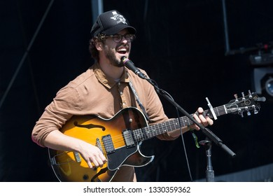San Francisco, CA/USA: 10/19/14: James Petralli leads White Denim at Treasure Island Music Festival. The indie rock band from Texas in 2018 released their eighth full-length album, Performance.