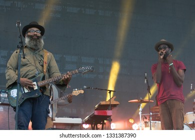 San Francisco, CA/USA: 10/19/14: Kyp Malone and Tunde Adebimpe perform as TV on The Radio at Treasure Island Music Festival. They're an American indie rock band from Brooklyn.