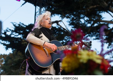 San Francisco, CA/USA - 10/2/16: Emmylou Harris performs at Hardly Strictly Bluegrass in Golden Gate Park.  She has won over 10 Grammy Awards and several CMA Awards.