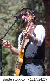 """San Francisco, CA/USA - 10/4/19: Waylon Albright """"Shooter"""" Jennings aka Shooter Jennings performs at Hardly Strictly Bluegrass in Golden Gate Park. He's the son of country music legend Waylon Jenning."""