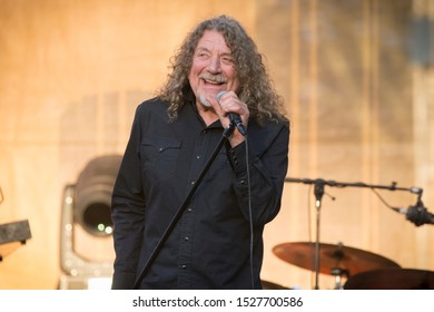 San Francisco, CA/USA - 10/5/19: Robert Plant of Lez Zeppelin performs at Hardly Strictly Bluegrass in Golden Gate Park. He's a Grammy Award winning vocalist from England.