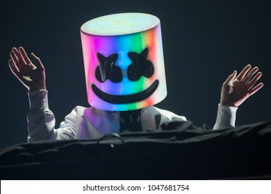 San Francisco, CA/USA: 1/12/2018: Christopher Comstock aka Marshmello performs at the Bill Graham Civic.  He's an electronic dance music producer and DJ.