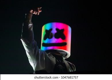 San Francisco, CA/USA: 1/12/2018: Christopher Comstock aka Marshmello performs at the Bill Graham Civic.  He's an electronic dance music producer and DJ.