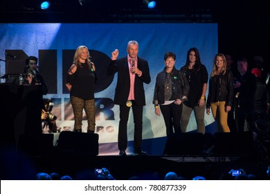 San Francisco, CA/USA: 11/9/17: Joe Montana speaks to the crowd at Band Together Bay Area at AT&T Park.  Montana was a quarterback for the San Francisco 49ers.   He's a 4 time Super Bowl champion.
