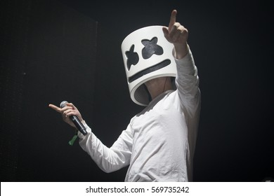San Francisco, CA/USA - 1/21/17 : Marshmello performs to a sold out crowd at the Bill Graham Civic in San Francisco. His identity remains unknown. He's an electronic dance music producer and DJ.