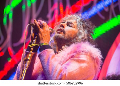 San Francisco, CA/USA - 12/31/2015: Wayne Coyne performs with The Flaming Lips at the Bill Graham Civic Auditorium.  The band has won multiple Grammy Awards.