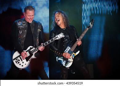 San Francisco, CA/USA - 2/6/2016 : James Hetfield and Kirk Hammett of Metallica perform at AT&T Park in San Francisco, CA.