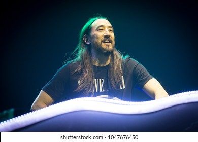San Francisco, CA/USA: 3/10/2018: Steven Hiroyuki Aoki aka Steve Aoki performs at the Bill Graham Civic in San Francisco.  Aoki is an electro house musician, record producer, DJ, and music executive.
