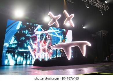 San Francisco, CA/USA: 3/10/2018: Steven Hiroyuki Aoki aka Steve Aoki performs at the Bill Graham Civic in San Francisco.  Aoki is an electro house musician, record producer, DJ, and music executive.